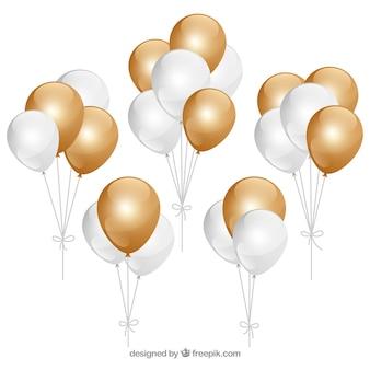 Złote i białe balony kilka kolekcji