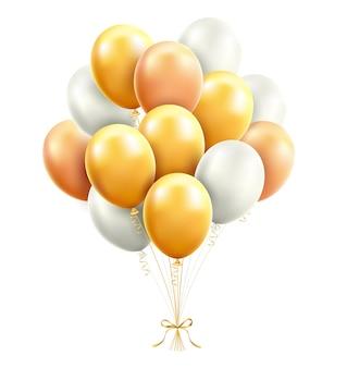 Złote i białe balony z ilustracjami wstążki