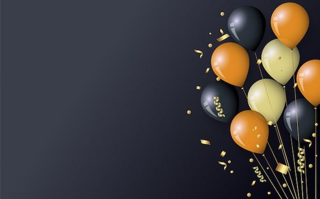 Złote i czarne balony i konfetti