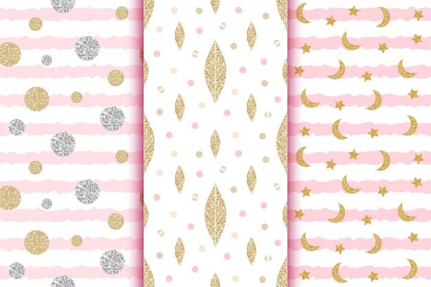 Złote i srebrne brokatowe wzory bez szwu z liśćmi, kropkami, kółkami, księżycem, gwiazdkami w różowe paski, chrzciny, ślub, zapisać tapety daty.