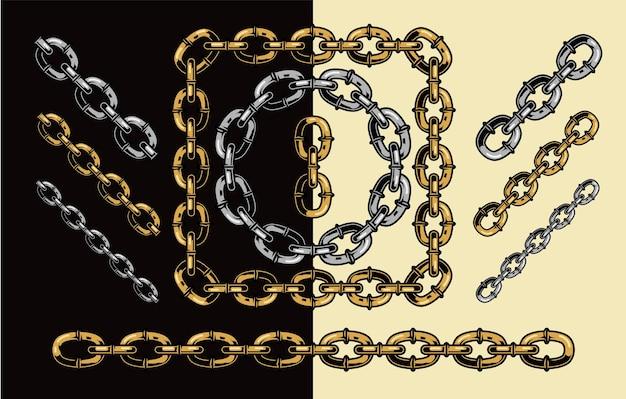 Złote i srebrne łańcuszki w stylu na białym tle