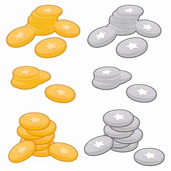 Złote i srebrne monety gry zestaw kreskówka na białym tle na białym tle.