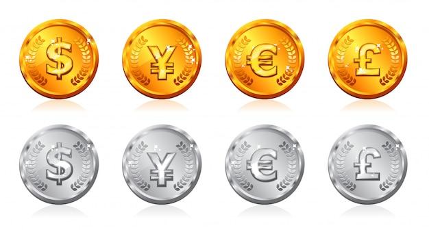 Złote i srebrne monety z wieloma walutami w
