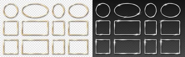 Złote i srebrne okrągłe ramki na przezroczystym tle. złote i stalowe 3d realistyczne geometryczne koło i prostokątna granica z blaskiem blasku i efektem świetlnym. ilustracja wektorowa