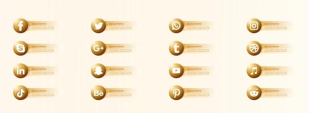 Złote ikony popularnych serwisów społecznościowych z banerami ustawiają darmowe ikony
