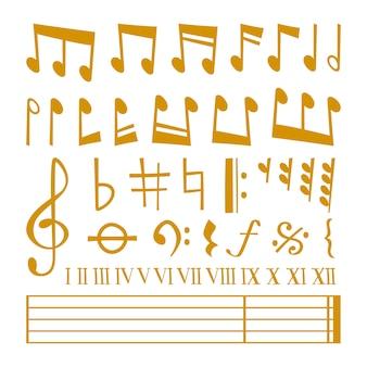 Złote ikony ustawić symbole nutowe muzyki melodii