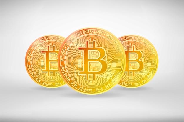Złote ikony walut kryptograficznych bitcoin z cieniami na białym tle. ilustracja wektorowa realistyczne.
