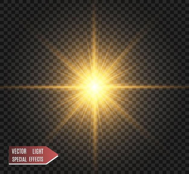 Złote iskierki, magia, jasny efekt świetlny na przezroczystym tle. złoty pył.