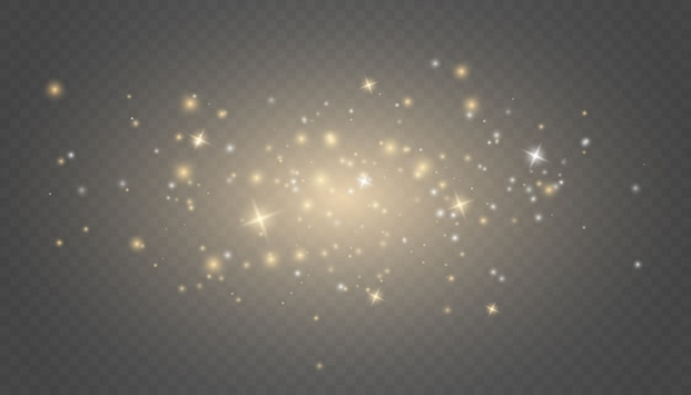 Złote iskry i złote gwiazdy błyszczą specjalnym efektem świetlnym.