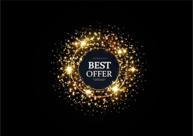 Złote iskry i złote gwiazdy mienią się specjalnym efektem świetlnym. złoty baner reklamowy.