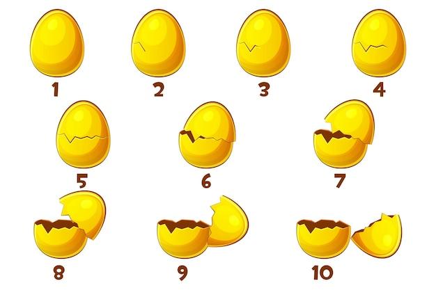 Złote jajka, jajko animacji 10 kroków. wektor symbol wielkanocy. zwykłe, zniszczone i połamane. obiekty na osobnej warstwie.