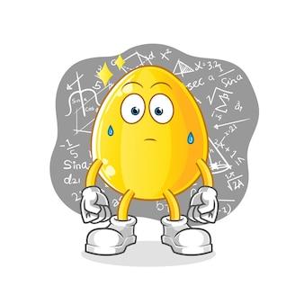Złote jajko mocno myśli. kreskówka maskotka kreskówka maskotka maskotka