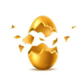Złote jajko z pękniętą eksplodowaną skorupą jajka symbol wakacje wielkanocne