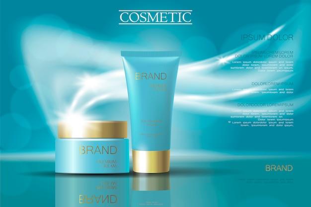 Złote jasnoniebieskie reklamy kremowych opakowań kosmetyków. realistyczny