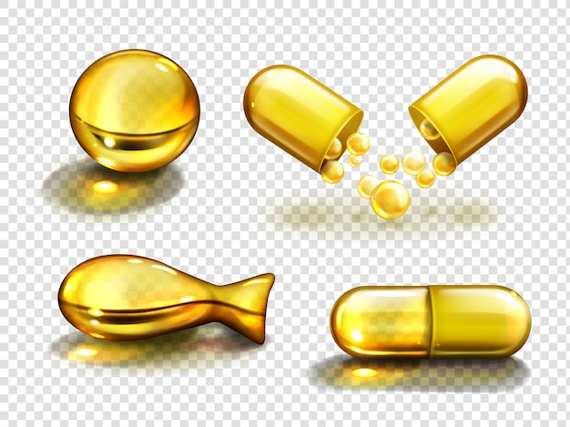 Złote kapsułki olejowe, suplementy witaminowe, kolagen