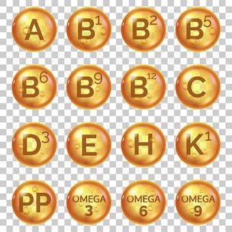Złote kapsułki witaminowe. kompleksowe witaminy z kwasami omega 3 i c, e, b, h i k1. pigułki kosmetyczne i kulki oleju ikony wektor zestaw. ekologiczne leczenie zdrowego stylu życia, suplement