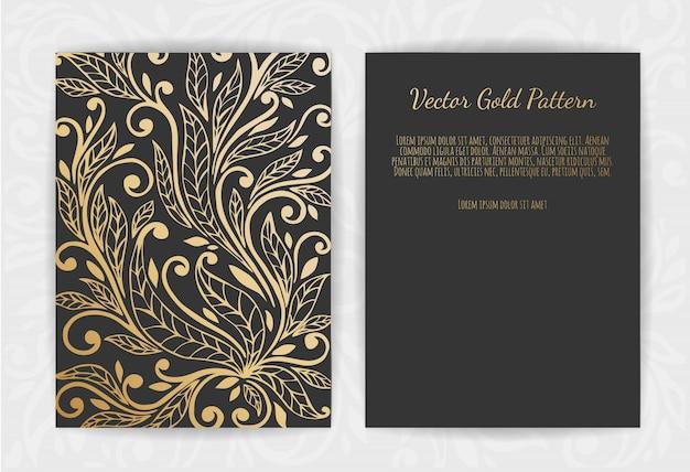 Złote karty z pozdrowieniami na czarno