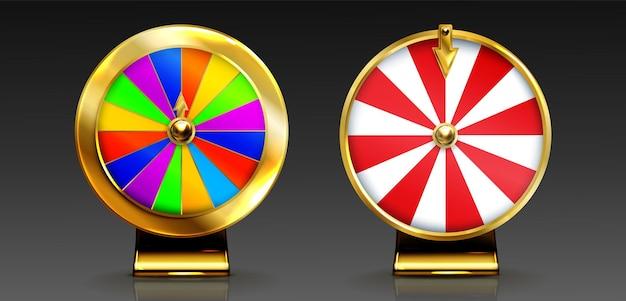 Złote koło fortuny na loterię lub szansę kasyna na wygranie nagrody w szczęśliwej ruletce