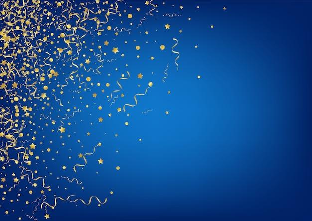 Złote konfetti karnawałowe niebieskie tło