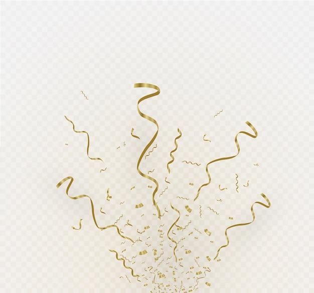 Złote konfetti na białym tle na tle komórkowym