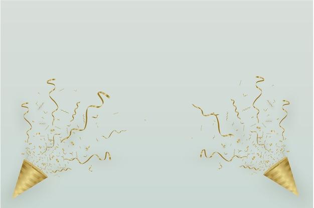 Złote konfetti, na białym tle na tle komórkowym