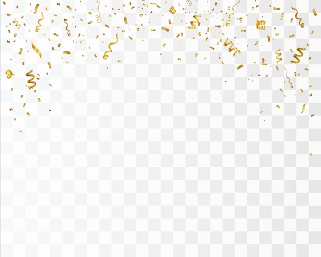 Złote konfetti na białym tle. świętuj ilustracji wektorowych