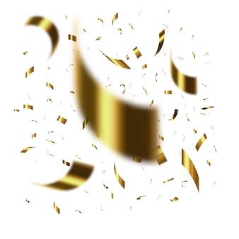 Złote konfetti na białym tle.