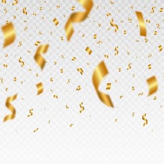 Złote konfetti na przezroczystym tle spadające błyszczące złote konfetti
