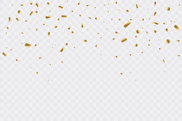 Złote konfetti na przezroczystym tle. uroczystość. ilustracja.