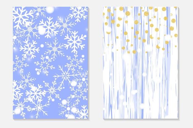 Złote konfetti na shabby tle. zestaw okładek w złote kropki i spadające płatki śniegu. zaproszenia na imprezę, ulotki.