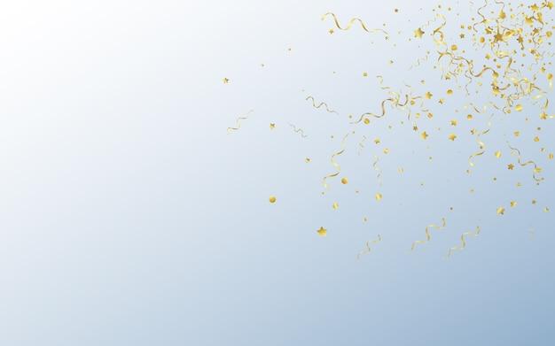 Złote konfetti rocznica szare tło