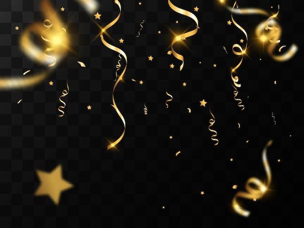 Złote konfetti spada na czarnym tle