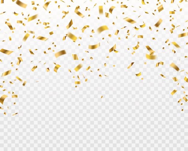 Złote konfetti. spadające złote wstążki z folii, latający żółty blask. święta bożego narodzenia i rocznica na białym tle bogaty świętować teksturę