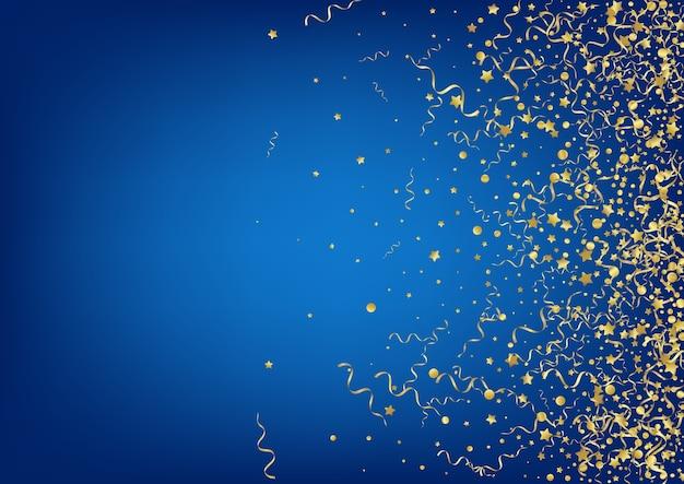 Złote konfetti świąteczne niebieskie tło