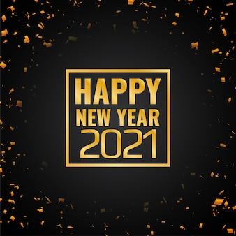 Złote konfetti szczęśliwego nowego roku 2021