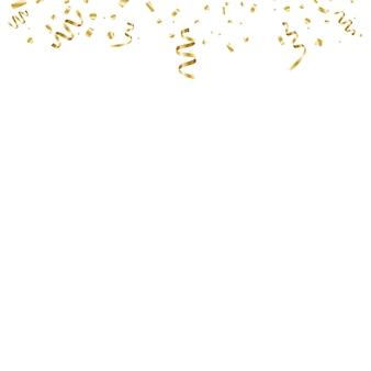 Złote konfetti zakrzywione na przezroczystym tle. pękło konfetti. świąteczna ilustracja.