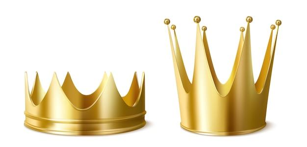 Złote korony dla króla lub królowej, niskie i wysokie nakrycie głowy koronujące