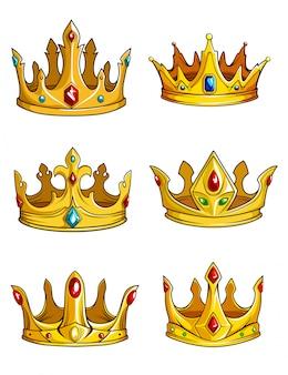 Złote korony królewskie ozdobione kamieniami szlachetnymi