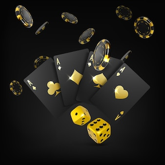Złote kości czarne karty do gry cztery asy i spadające żetony pokerowe kasyno plakat z dużą wygraną
