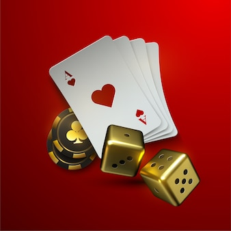 Złote kości i stos kart na białym tle na czerwonym tle. realistyczna ilustracja 3d. koncepcja kasyna lub hazardu.