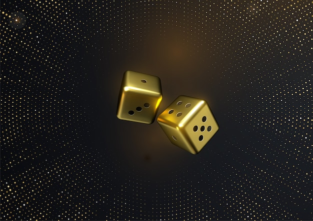 Złote kostki ze złotymi błyskotkami. ilustracja 3d. koncepcja kasyna lub hazardu.