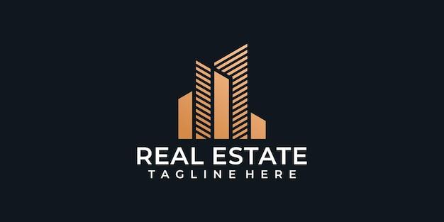 Złote kreatywne logo budownictwa mieszkaniowego domu .