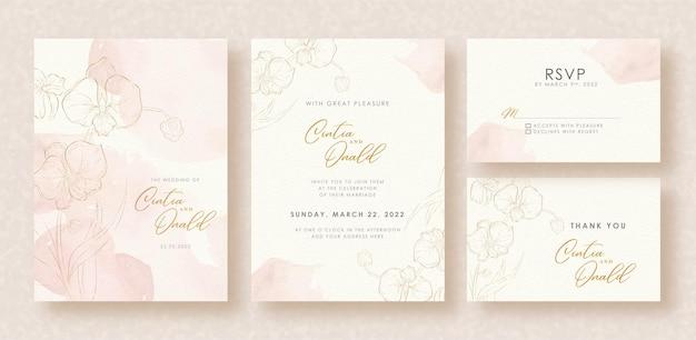 Złote kształty kwiatów na tle zaproszenia ślubne