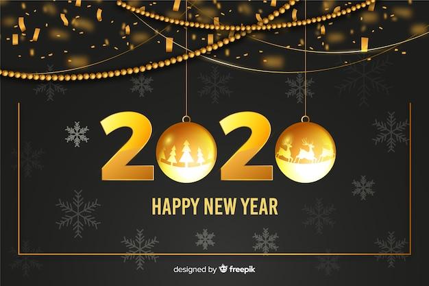 Złote kule na rok 2020 szczęśliwego nowego roku