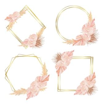 Złote kwiatowe geometryczne ramki róże i suszone liście