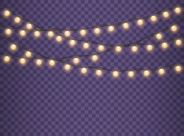 Złote lampy girlanda świecące światła na święta bożego narodzenia