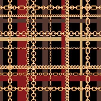 Złote łańcuchy bez szwu wzór tartanu