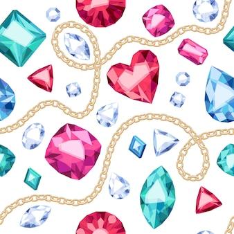 Złote łańcuchy i kolorowe kamienie szlachetne wzór na białym tle. różne diamenty, rubiny, szmaragdy ilustracja. dobry do luksusowego plakatu banerowego na okładkę.