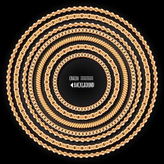Złote łańcuchy okrągłe ramki szablon na czarnym tle