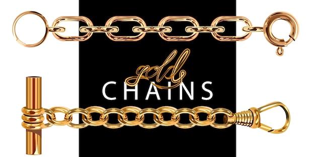 Złote łańcuchy z zapięciem.
